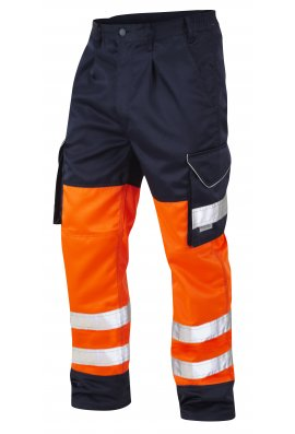 Leo Workwear CT01-O/NV Class 1 Bideford Poly/Cotton Cargo Trousers Orange And Navy