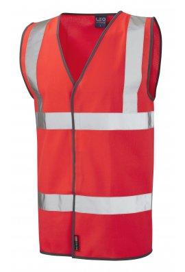 Leo Workwear W01-R Tarka Red Hivis Vests (Small To 6XL)