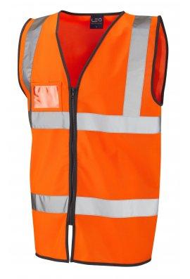 Leo Workwear W02-O Rumsan ID Pouch Orange Zipped Hi Vis Vests (Small To 6XL)
