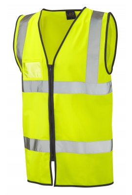 Leo Workwear W02-Y Rumsan ID Pouch Yellow Zipped Hi Vis Vests (Small To 6XL)