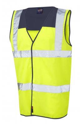 Leo Workwear W09-NV/Y Bradworthy Navy Yoke Hi Vis Vests (Small To 4XL)