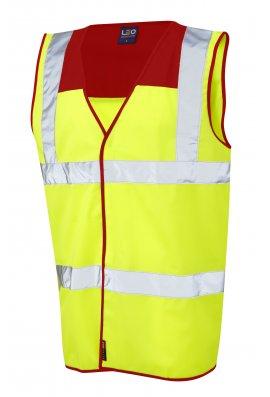 Leo Workwear W09-RD/Y Bradworthy Red Yoke Hi Vis Vests (Small to 4XL)
