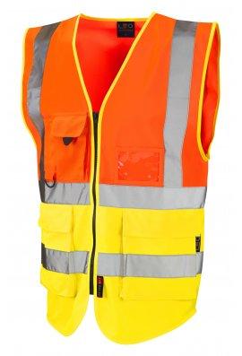 Leo Workwear W11-O/Y Lynton Orange Yellow Hi Vis Vests (Small To 6XL)