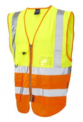 Leo Workwear W11-Y/O Lynton Superior Yellow Orange Hi Vis Vests (Small To 6XL)