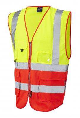 Leo Workwear W11-Y/R Lynton Yellow Red Hi Vis Vests (Small To 6XL)