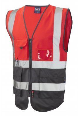 Leo Workwear W11-R/GY Lynton Red Grey Two Tone Hi Vis Vests(Small To 6XL)