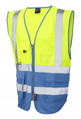 Leo Workwear W11-Y/DS Lynton Yellow Deep Sky  Two Tone Hi Vis Vests (Small To 6XL)