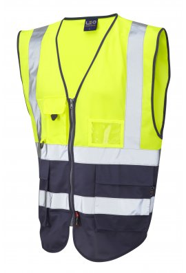 Leo Workwear W11-Y/NV Lynton Yellow Navy Two Tone Hi Vis Vests (Small To 6XL)