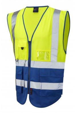 Leo Workwear W11-Y/RO Lynton Yellow Royal Two Tone Hi Vis Vests (Small To 6XL)