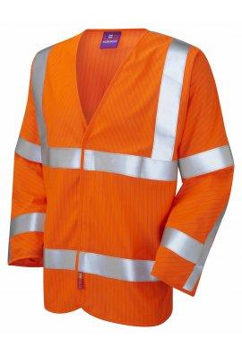 Leo Workwear S17-O LFS Orange Flame Retardent Anti-Static Hi Vis Long Sleeved Vests (Small To 6XL)