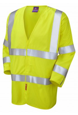 Leo Workwear S18-Y LFS Yellow Flame Retardent Anti-Staic 3/4 Sleeve Hi Vis Vests (Small To 6XL)