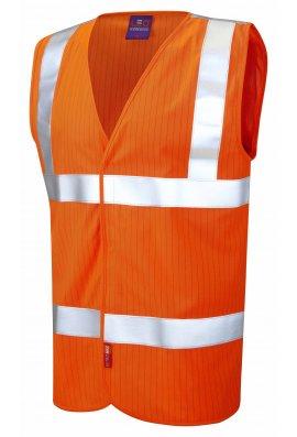 Leo Workwear W19-O Flame Retardent Anti Static Orange Hi Vis Vests (Small To 6XL)