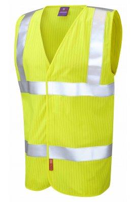 Leo Workwear W19-Y Flame Retardent Anti Static Yellow Hi Vis Vests (Small To 6XL)