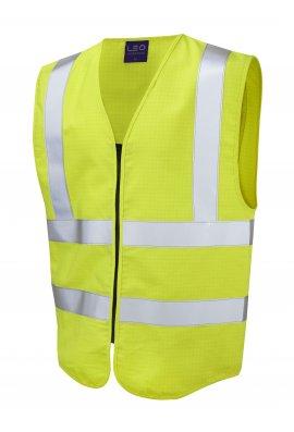 Leo Workwear W10-Y Harracott Flame Retardent Anti Static Yellow Hi Vis Vests (Small to 6XL)