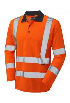 Leo Workwear P05-O Class 3 Swimbridge Poly/Cotton Long Sleeve Polo Shirt (Small To 6XL)