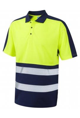 Leo Workwear P10-Y/NV Class 1 Dual Colour Coolviz Plus Polo (Small To 6XL)