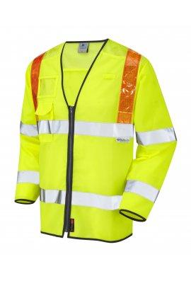Leo Workwear S13-Y Barbrook Class 3 Orange Brace Sleeved WaistCoat (Small to 6XL)