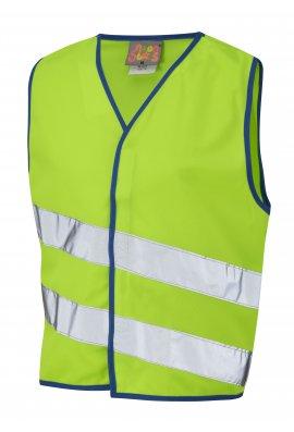 Leo Workwear CW01-LM NeonStars Childrens Lime Hi Vis Vest (3/4 To 9/11)