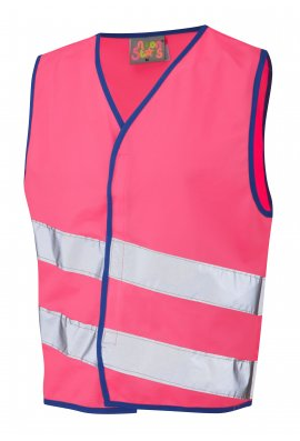 Leo Workwear CW01-PK NeonStars Childrens Pink Hi Vis Vest (3/4 To 9/11)