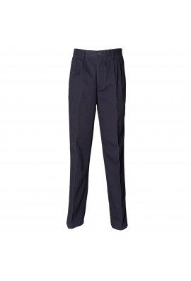 Henbury HB600 Teflon Coated Pleated Chino Trousers Navy