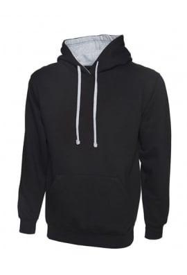 Uneek Contrast Hooded SweatShirt (Xsmall to 4Xlarge) 12 Colours