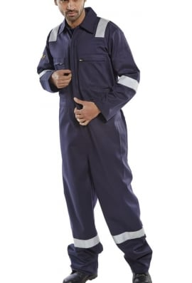Beeswift CFRASSBBSN Burgan FR/AS LightWeight Boiler Suit Navy (SmallTo6XL)