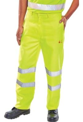 Beeswift Flame Retardant Anti Static Hi Vis Trousers Yellow (28 To 48)