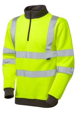 Leo Workwear SS01-Y Class 3 Brynsworthy 1/4 Zip Sweatshirt (Small To 6XL)
