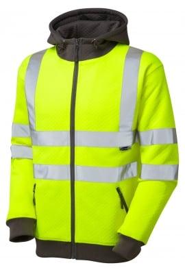 Leo Workwear SS02-Y Class 3 Saunton Full Zip Hooded Sweatshirt (Small To 6XL)