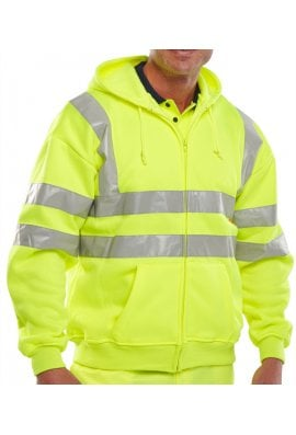 Beeswift BSHSSEN Hi-Visibility Full Zip Hooded Sweat Shirt (Small To 3XL)