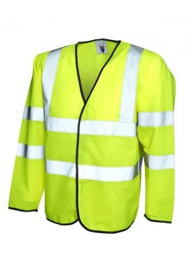 Uneek UC802  Standard Hi Vis Long Sleeved Vests (Small To 4XL)