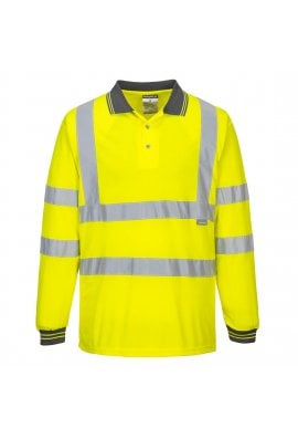 Portwest S277 Hi-Vis Long Sleeved Polo Shirt (Small To 3XL)