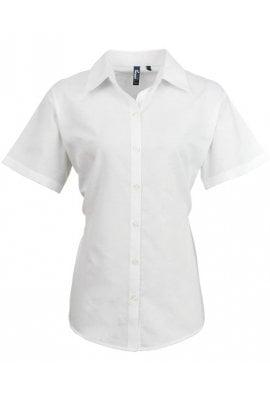 Premier PR336 Womens Signature Oxford Short Sleeve Blouse  (Size 8 To 24)  4 COLOURS