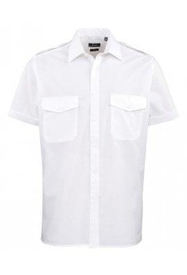 Premier PR212 Short Sleeve Pilot Shirt  (Collar Size 14.5 To 19.0)  3 COLOURS