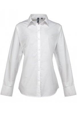Premier PR307 Ladies Fit  Supreme Long Sleeve Poplin Blouse  (Size 8 To 24)  3 COLOURS