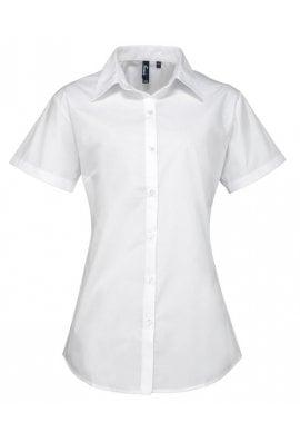 Premier PR309 Ladies Fit  Supreme Short Sleeve Poplin Blouse  (Size 8 To Size 24)  3 COLOURS