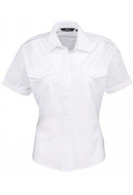 Premier PR312 Womens Short Sleeve Pilot Blouse  (Size 8 To Size 24)  2 COLOURS