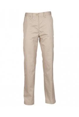 Henbury HB641 Womens 65/35 Flat Fronted Chino Trousers Stone