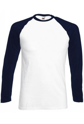 Fruit Of The Loom SS028 Long Sleeved BaseBall T-Shirt (Small To 2XL) 4 COLOURS