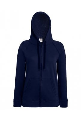 Fruit Of The Loom SS912 Ladies Fit  Lightweight Full Zip Hooded Sweat Shirt  (XSmall to 2Xlarge) 11 COLOURS