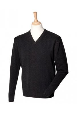 Henbury HB730 LambsWool V-Neck Jumper (Small to 2XLarge)