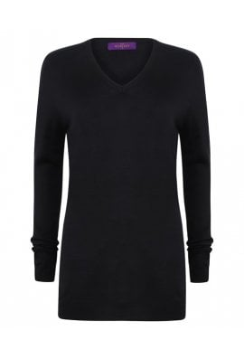 Henbury HB761 Womens Cashmere Touch Acrylic Jumper (XXsmall to 4Xlarge) 2 COLOURS