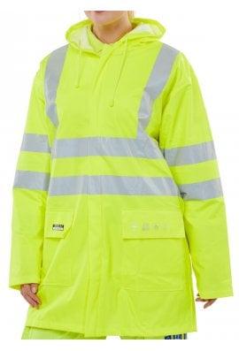 Beeswift Flame Retardant Hi Vis  Waterproof Jacket - Yellow (Small To 5XL)