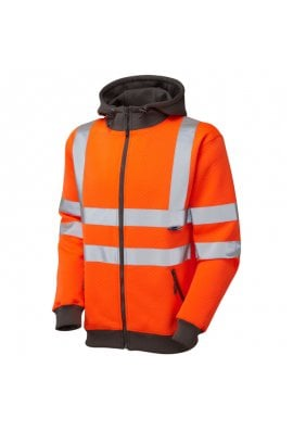 Leo Workwear SS02-O Class 3 Saunton Full Zip Hooded Sweatshirt