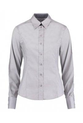 Kustom Kit KK789 Womens Contrast Premium Oxford Long Sleeved Blouse (Size 8 To 18)  2 COLOURS
