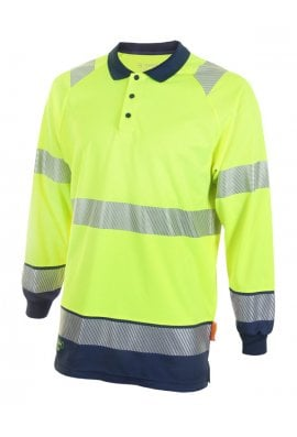 Beeswift HVTT015 Hi Vis Two Tone Long Sleeved Polo (Small to 4XLarge) 2 COLOURS
