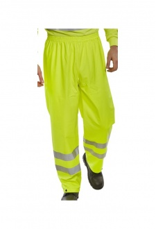 PUT471 Hi Visibility B-Dry Breathable PU Coated Overtrousers (Small To 4XL)