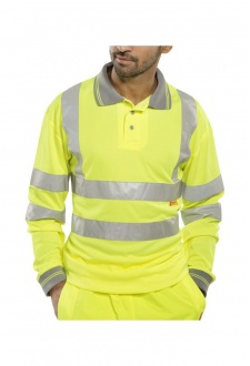 BPKSLSEN Hi Visibility B Seen Long Sleeved Polo Shirt (Medium To 6XL)
