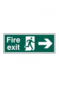BSS12001 Fire Exit Man Arrow Right Sign PVC Version