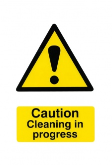 BSS1114 Caution Cleaning In Progress Sign PVC Version